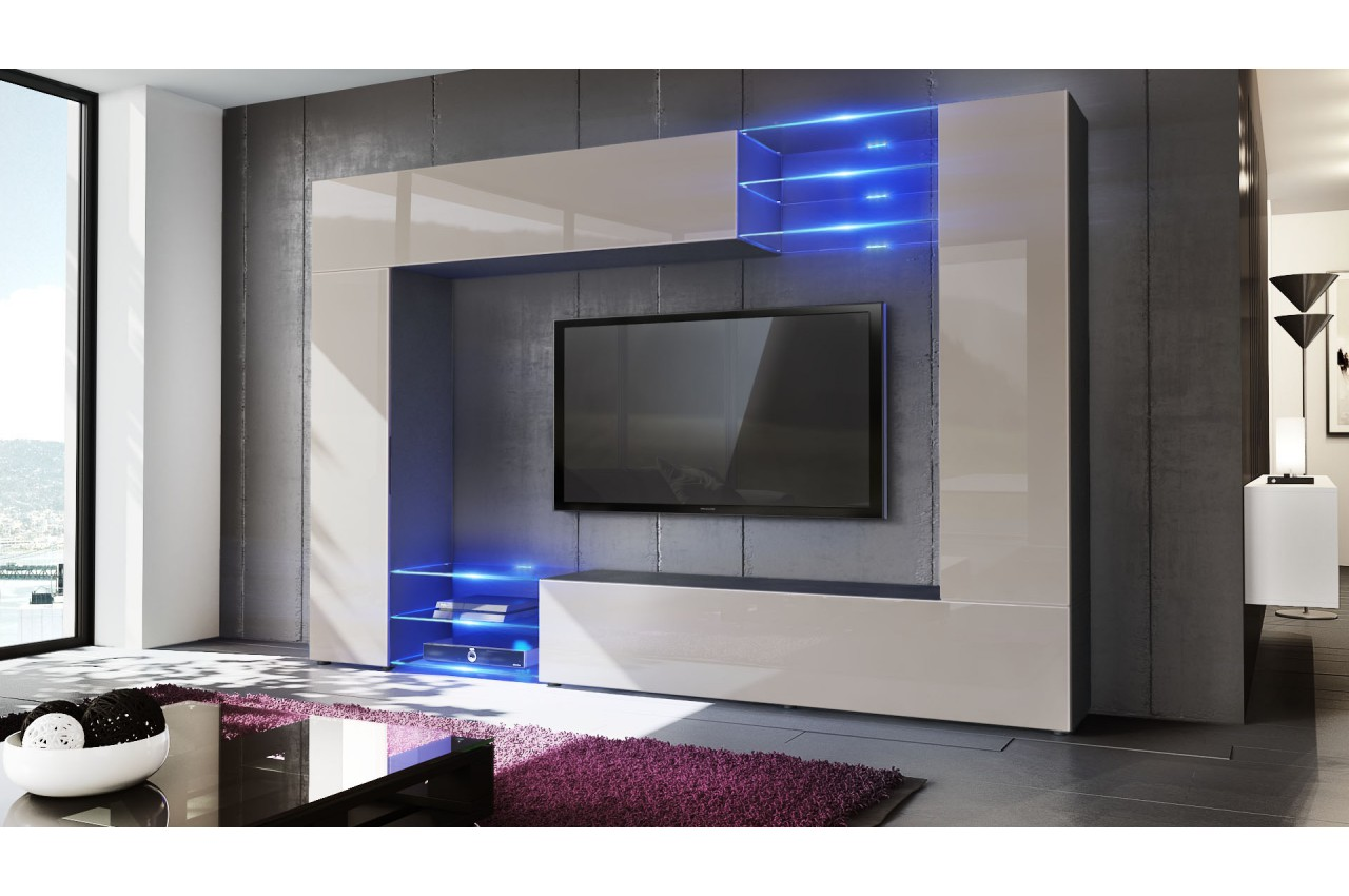 Meuble tv mural design 12 finitions moderne au choix for Meuble design moderne