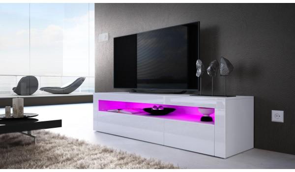 Meuble TV Design Laqué 2 Portes 1 Niche