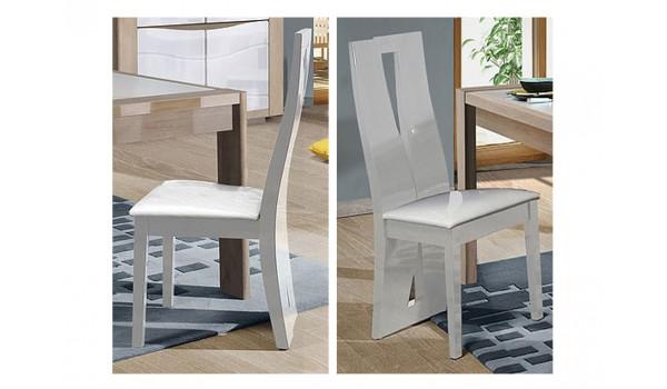Chaise de Repas Blanche Laquée - Assise en Simili Cuir Blanc