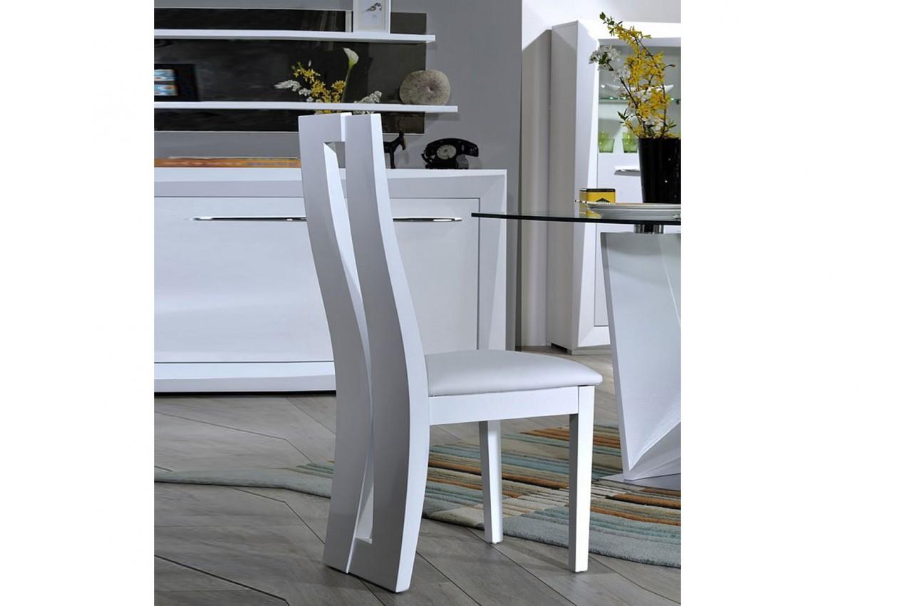 chaise de repas blanche laqu e assise en simili cuir blanc novomeuble. Black Bedroom Furniture Sets. Home Design Ideas