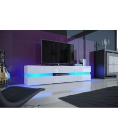 Meuble TV Design Blanc Laqué / Éclairage LED
