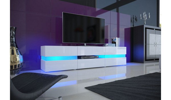 Meuble TV design blanc à led