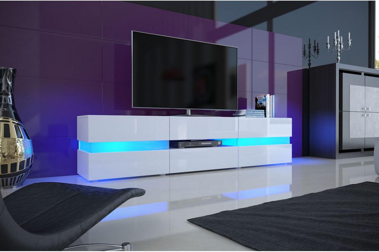 Meuble Tv Design Blanc Laqu 233 201 Clairage Led Pour Salon
