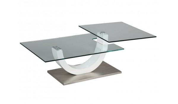 Table basse laque blanc et verre
