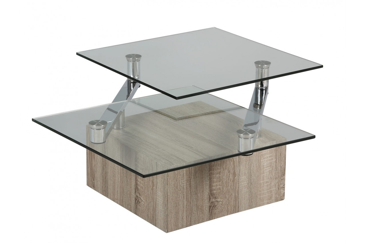 Table basse plateaux en verre pivotants novomeuble for Table basse verre
