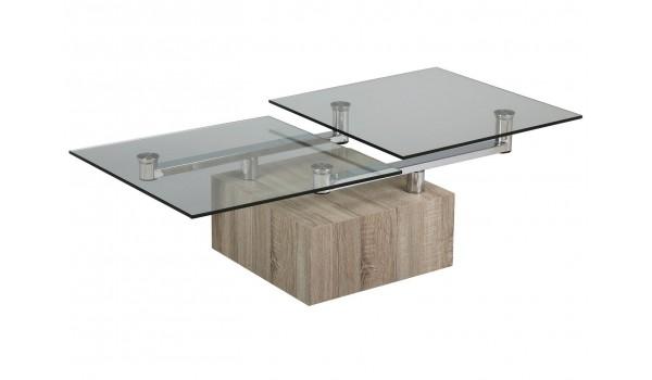 Table Basse Plateaux en Verre Pivotants