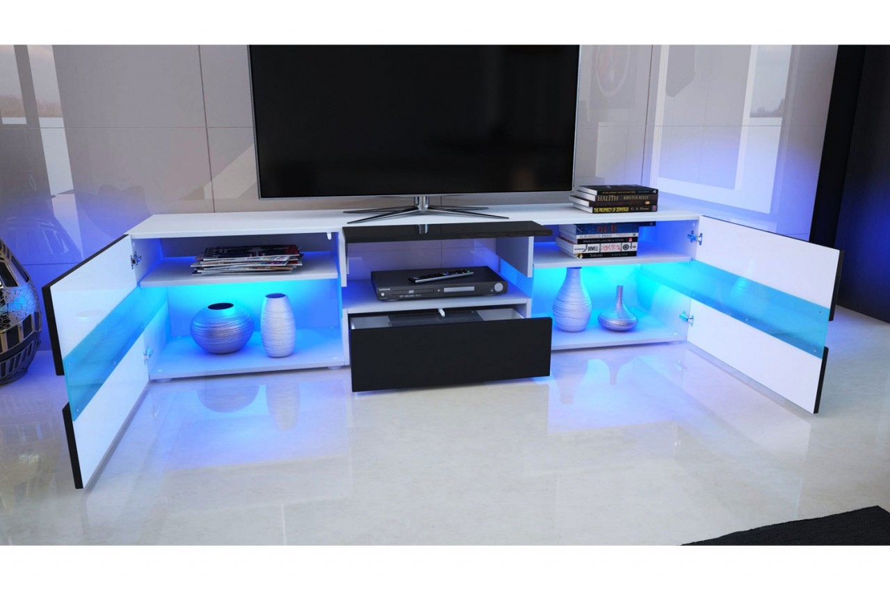Meuble tv design blanc laqu clairage led novomeuble for Grand meuble tv blanc laque