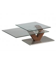Table basse verre et bois noyer