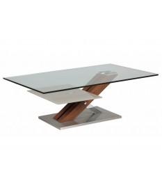 Table basse verre et bois massif