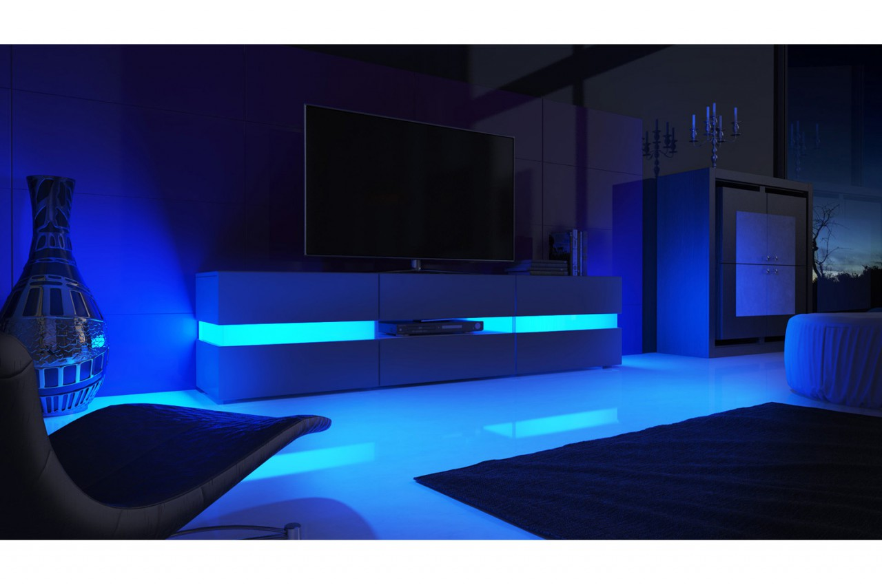 Meuble tv design blanc laqu clairage led novomeuble for Meuble design lit
