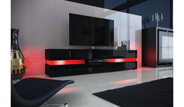 meuble tv design noir laqu clairage led pour salon. Black Bedroom Furniture Sets. Home Design Ideas