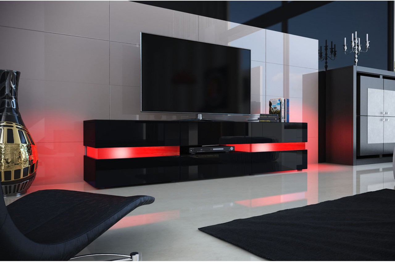 Meuble Tv Design Noir Laqu Clairage Led Novomeuble # Long Meuble Tv Design