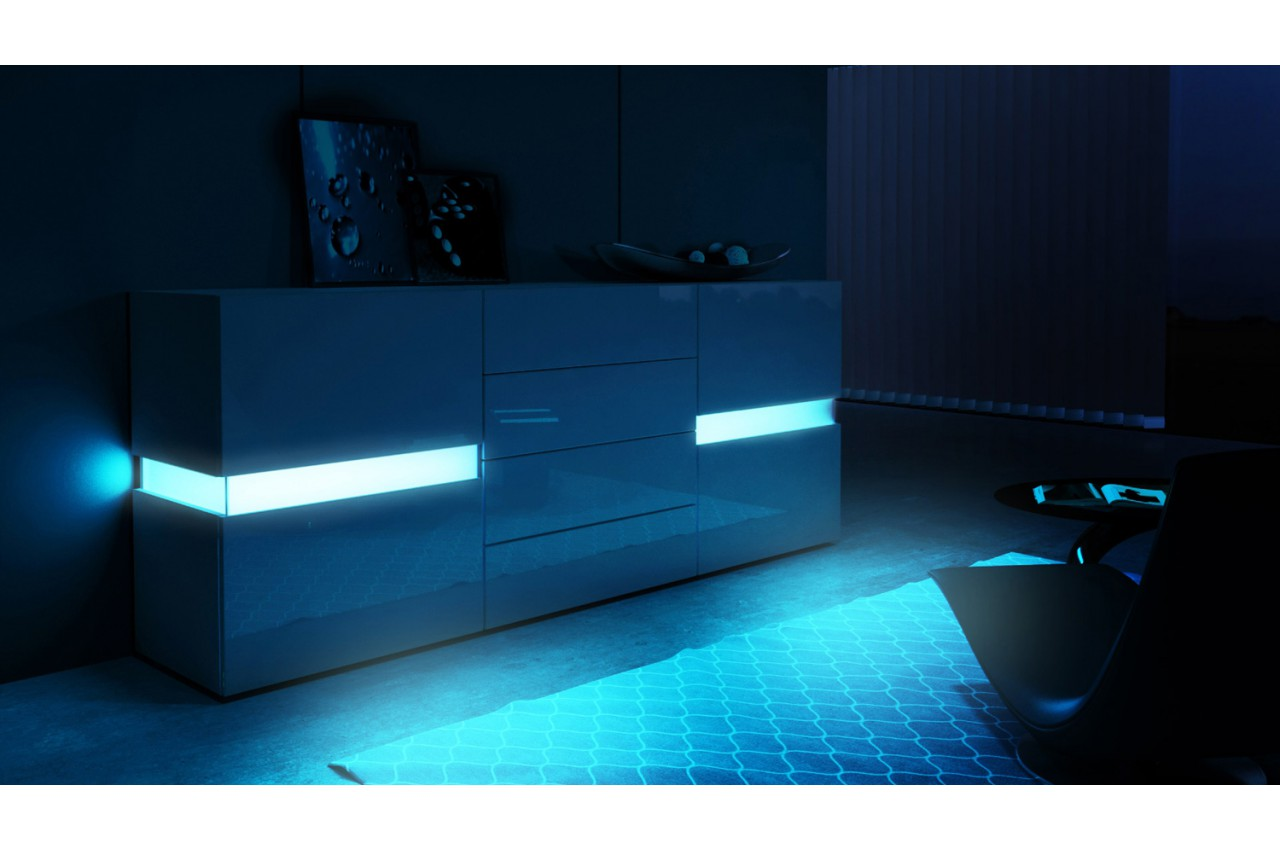buffet blanc laqu design clairage led novomeuble. Black Bedroom Furniture Sets. Home Design Ideas