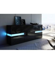 Buffet Noir Laqué Design / Éclairage LED - Novomeuble