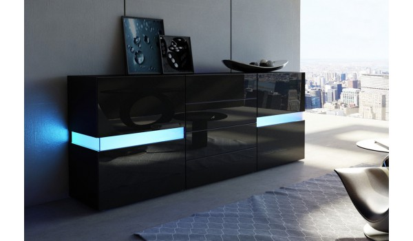 Buffet Noir Laqué Design / Éclairage LED pour salle à manger