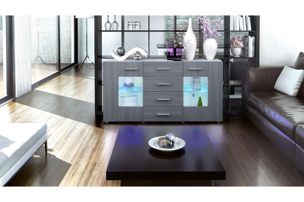 Buffet Design Blanc Portes En Verre Novomeuble # Buffet Bas Noir Portes Verre