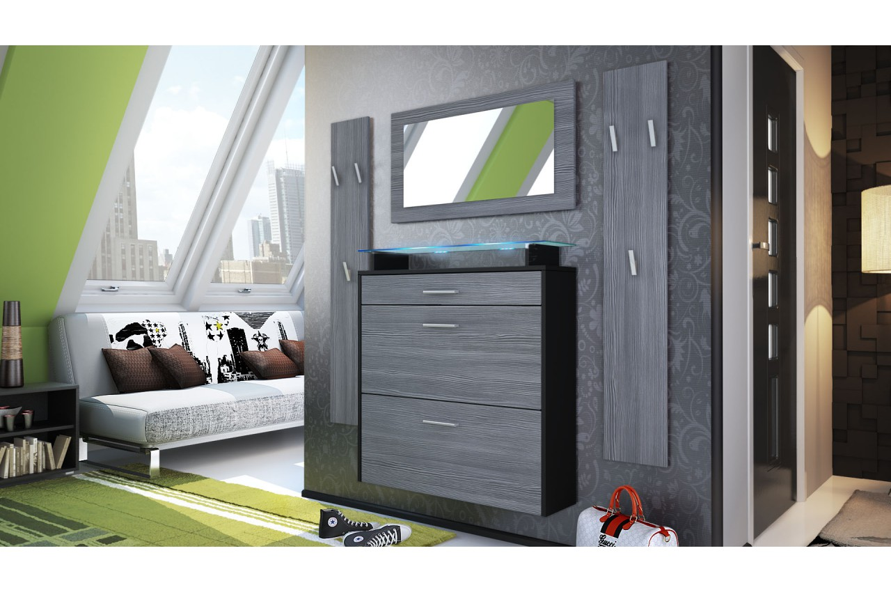 range chaussures vestiaire et miroir d 39 entr e suspendu. Black Bedroom Furniture Sets. Home Design Ideas