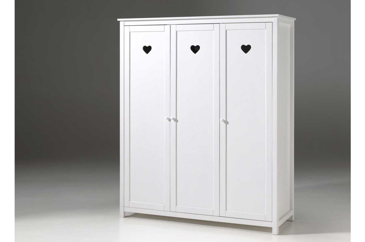 armoire blanche fille 3 portes novomeuble. Black Bedroom Furniture Sets. Home Design Ideas