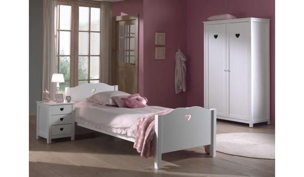 Chambre blanc laqué fille - Novomeuble