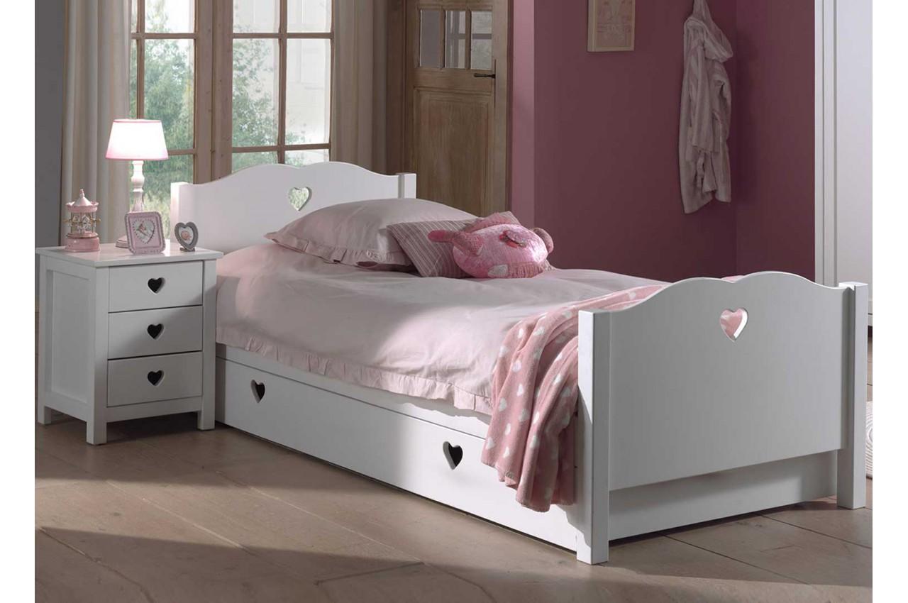 lit fille blanc avec tiroir pour chambre enfant  ado