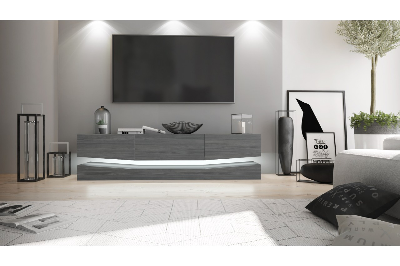 meuble t l suspendu led pour salon. Black Bedroom Furniture Sets. Home Design Ideas