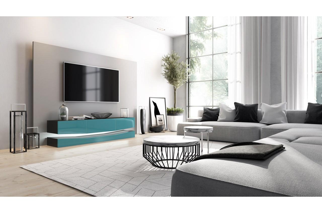 meuble t l suspendu led pour salon. Black Bedroom Furniture Sets. Home Design Ideas