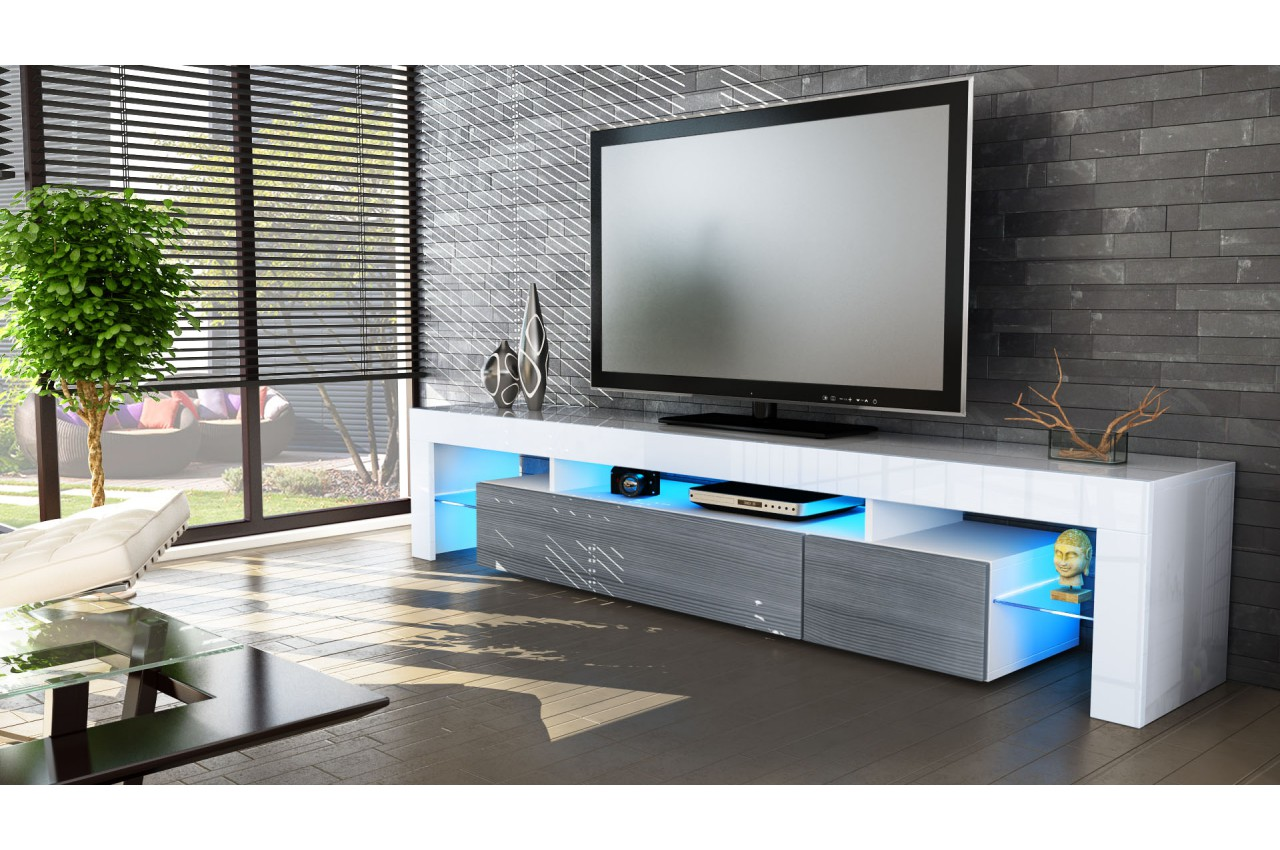 Meuble Tv Design Laqu Blanc Novomeuble # Meuble Tv A La Mode