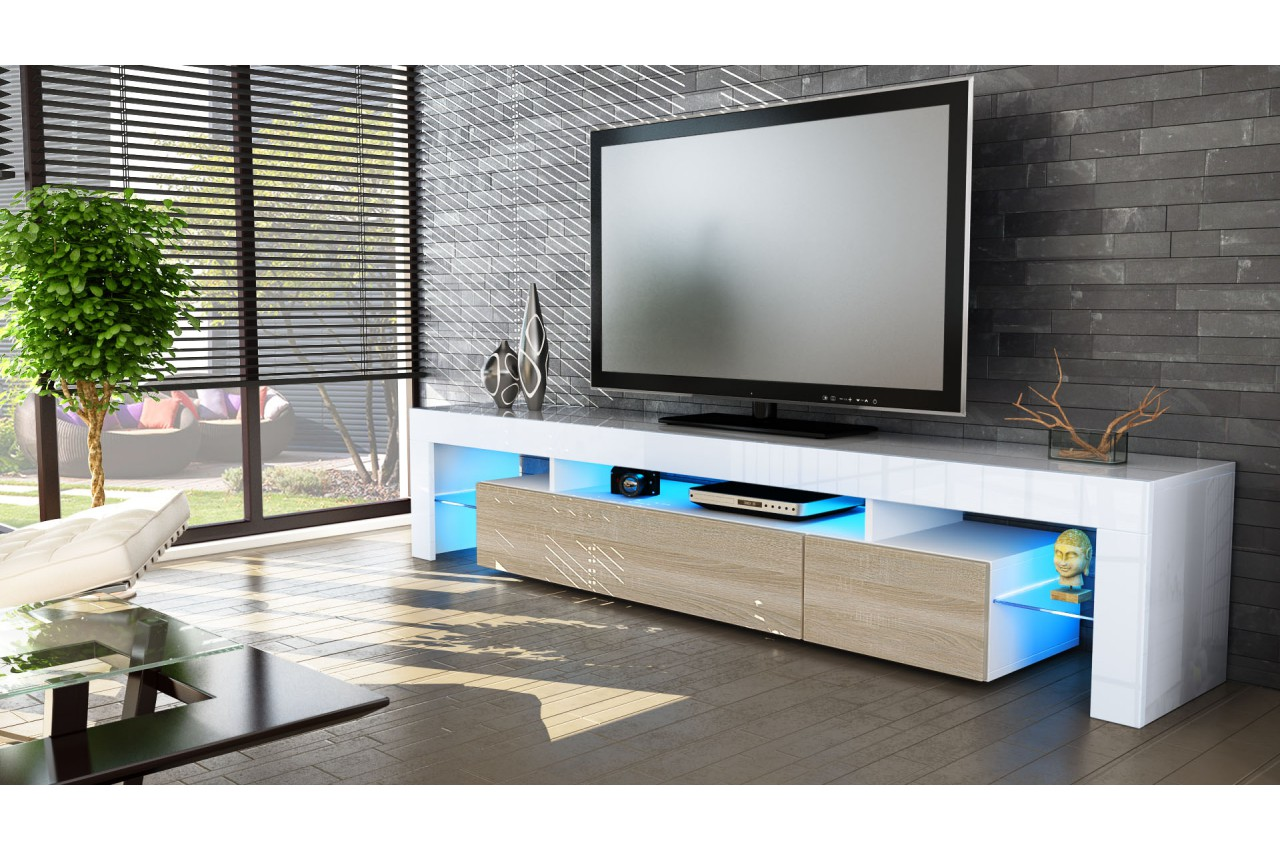 Meuble tv design laqu blanc novomeuble for Meuble tv long blanc