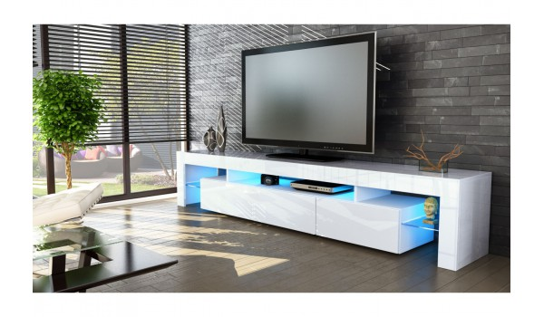 meuble tv design laqu blanc novomeuble. Black Bedroom Furniture Sets. Home Design Ideas