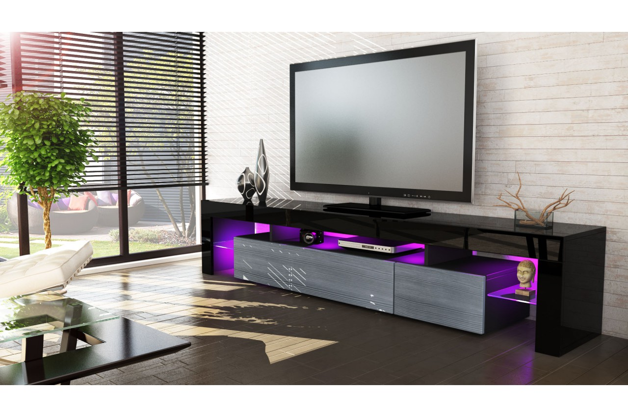 meuble tv design laqu noir novomeuble. Black Bedroom Furniture Sets. Home Design Ideas