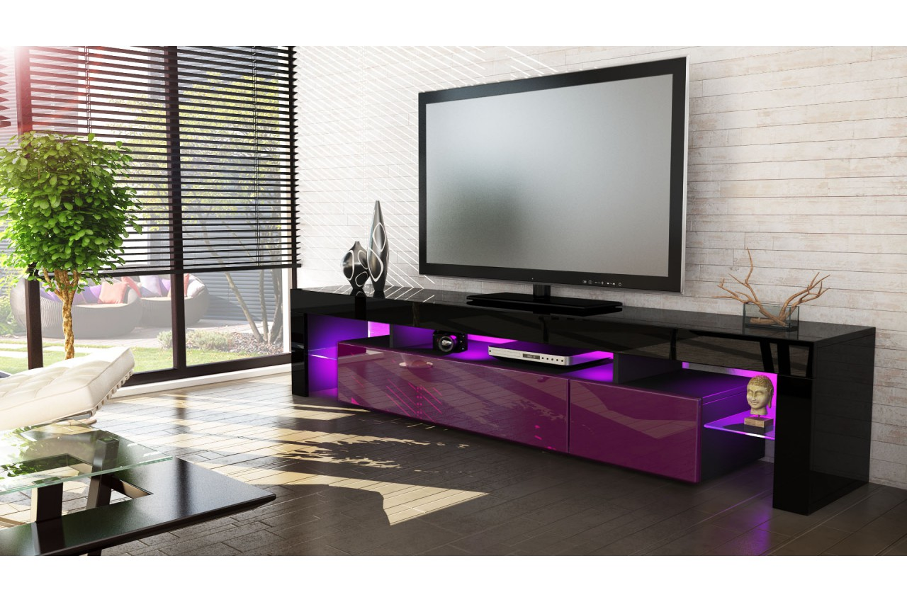 meuble tv design laqu noir. Black Bedroom Furniture Sets. Home Design Ideas