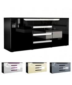 Buffet noir 139 cm 2 portes 4 tiroirs