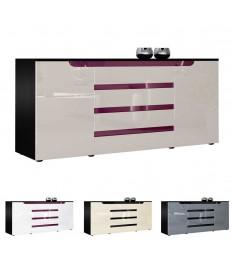 Buffet noir 166 cm 2 portes 4 tiroirs