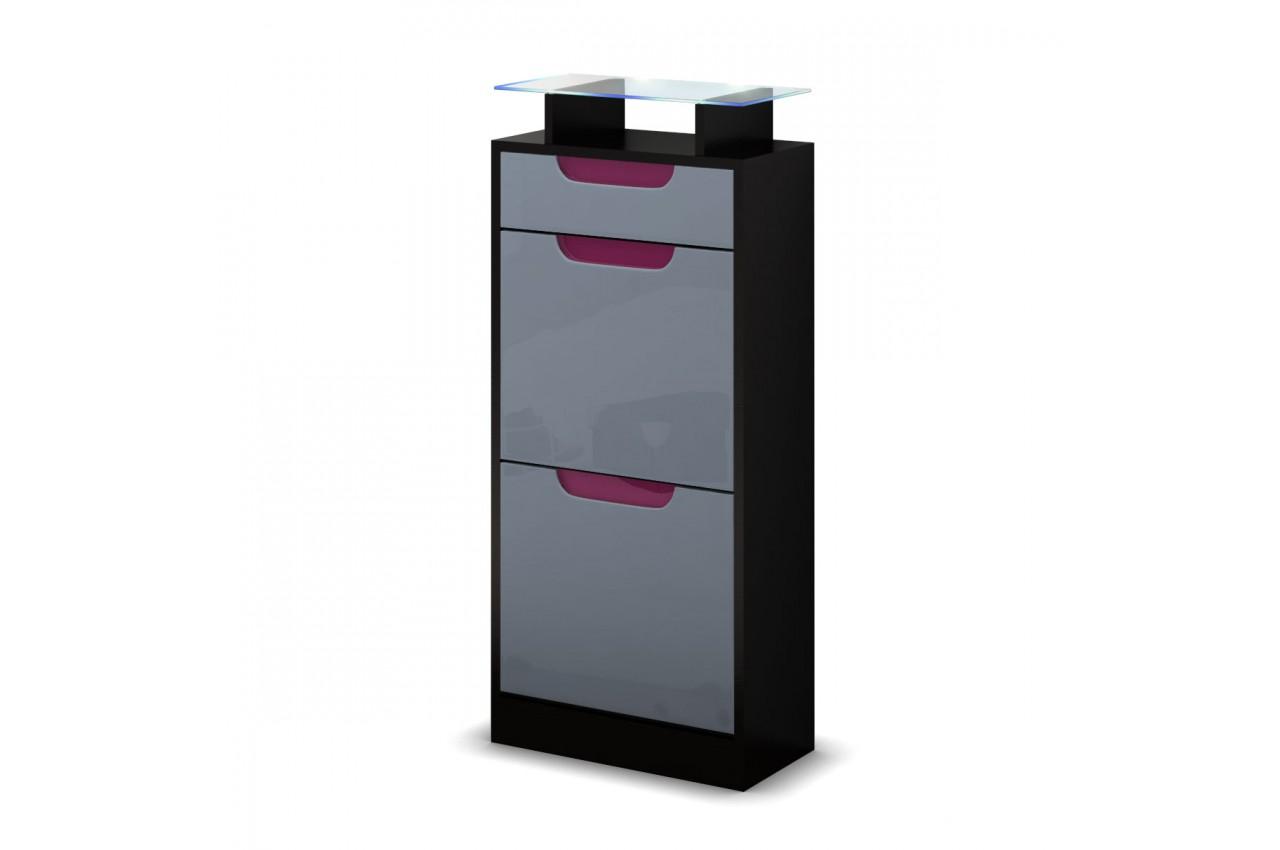 petit meuble chaussures noir 2 portes 1 tiroir. Black Bedroom Furniture Sets. Home Design Ideas