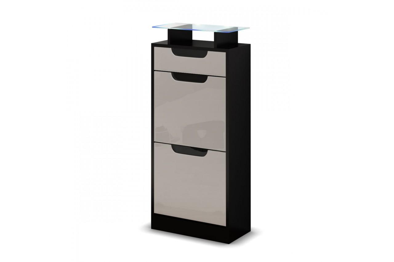 petit meuble chaussures noir 2 portes 1 tiroir pour rangement entr e. Black Bedroom Furniture Sets. Home Design Ideas