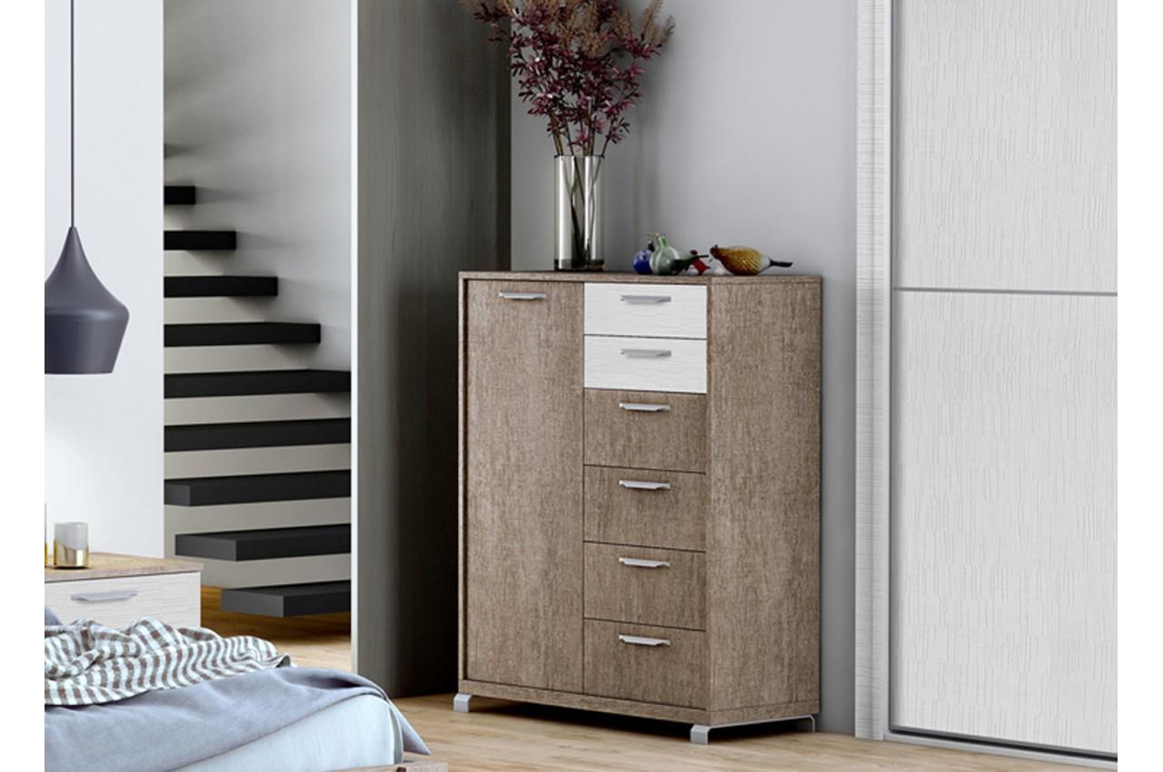 commode 6 tiroirs contemporaine pour chambre adulte. Black Bedroom Furniture Sets. Home Design Ideas