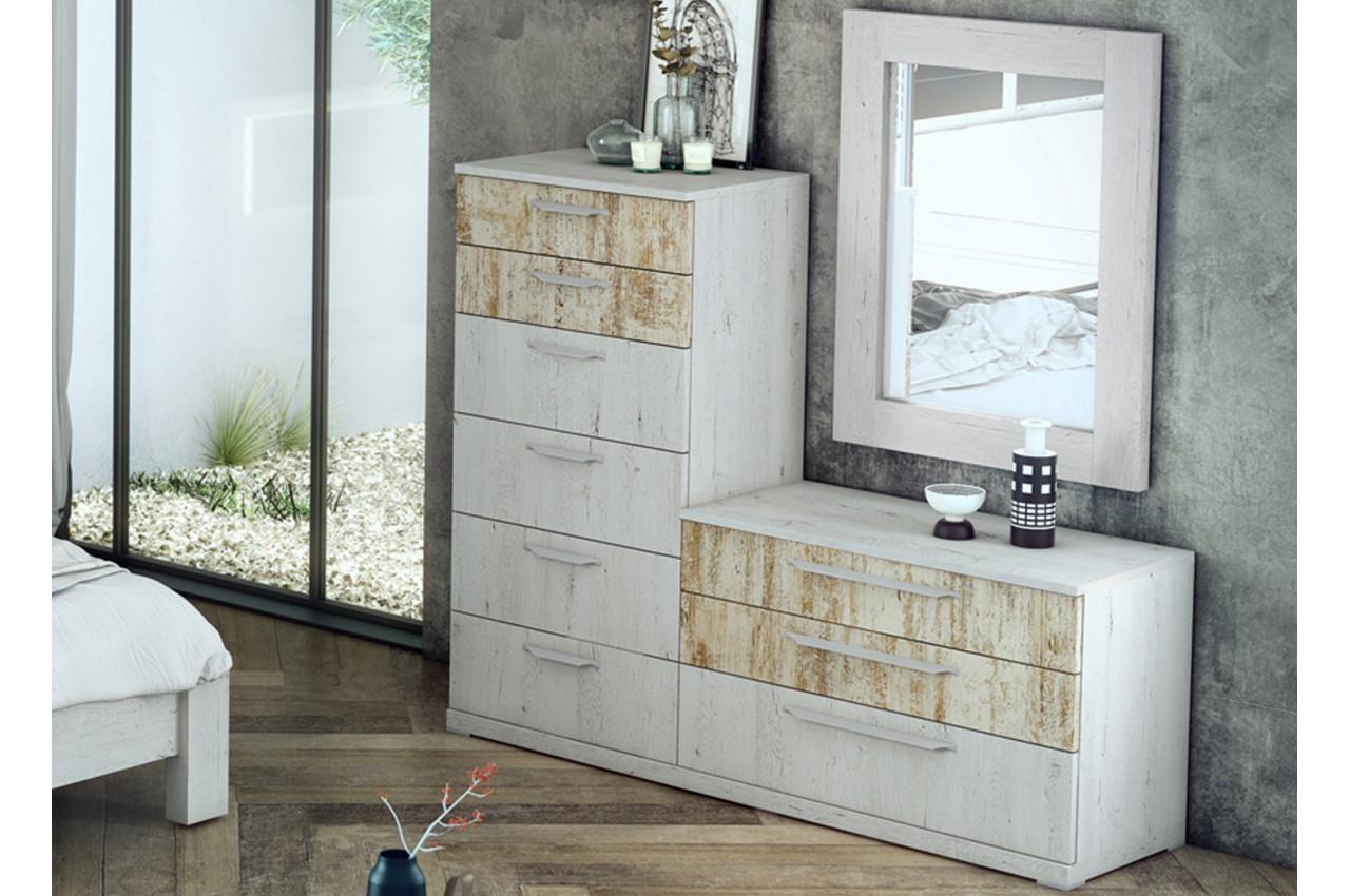 commode de chambre 9 tiroirs pour chambre adulte. Black Bedroom Furniture Sets. Home Design Ideas