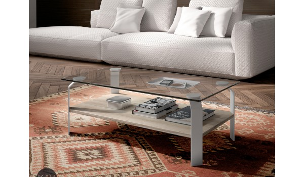 Table Basse rectangulaire en verre et bois Orme