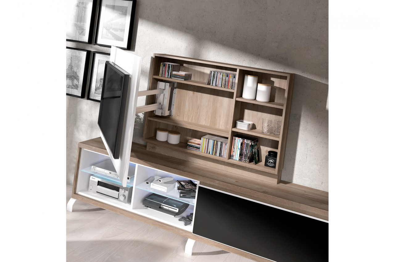 panneau tv pivotant avec rangement meuble tv novomeuble. Black Bedroom Furniture Sets. Home Design Ideas