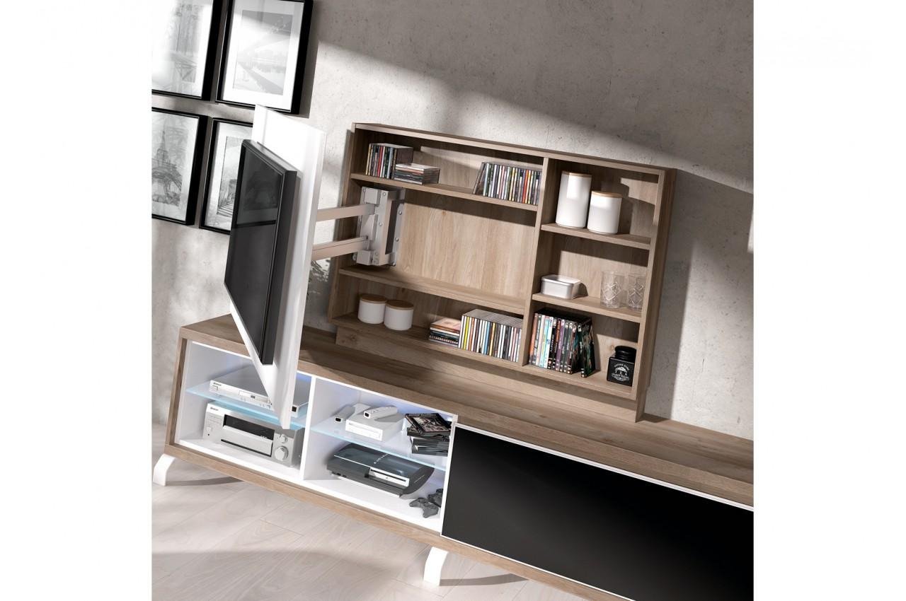 panneau tv pivotant avec rangement + meuble tv - novomeuble - Meuble Tv Pivotant Design