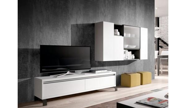 Meuble TV Blanc et Gris Contemporain
