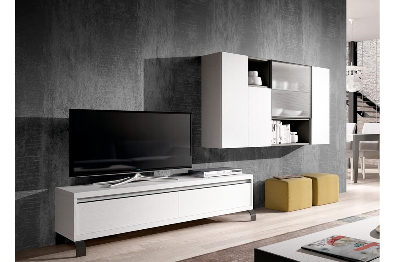 Meuble tv blanc et gris contemporain pour salon Meuble salon gris