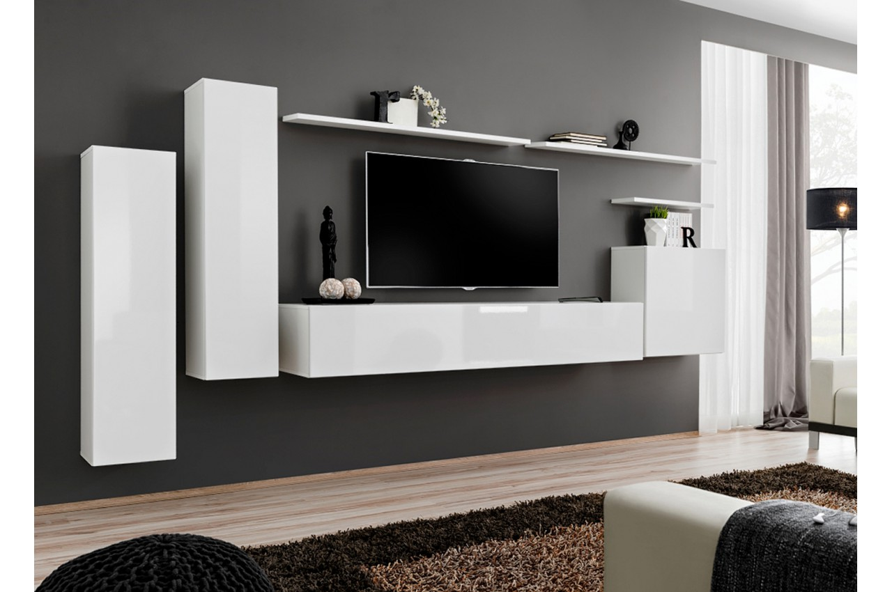 Meuble De Salon Tv Mural Design Blanc Novomeuble # Tablette Sous Tv Murale