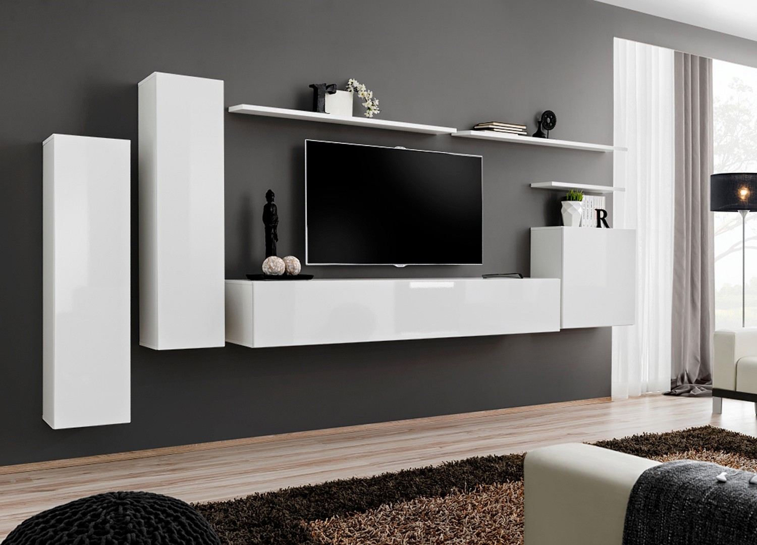 excellent meuble de salon tv mural design blanc with meubles suspendus salon. Black Bedroom Furniture Sets. Home Design Ideas