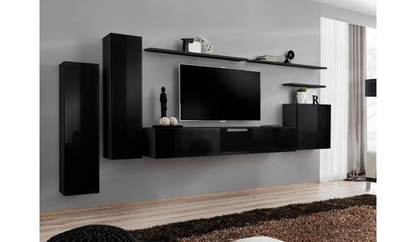 Meuble de salon tv suspendu noir design pour salon for Meuble de salon noir