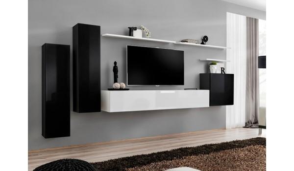 Meuble Tv Mural Design Noir Blanc Laque Pour Salon