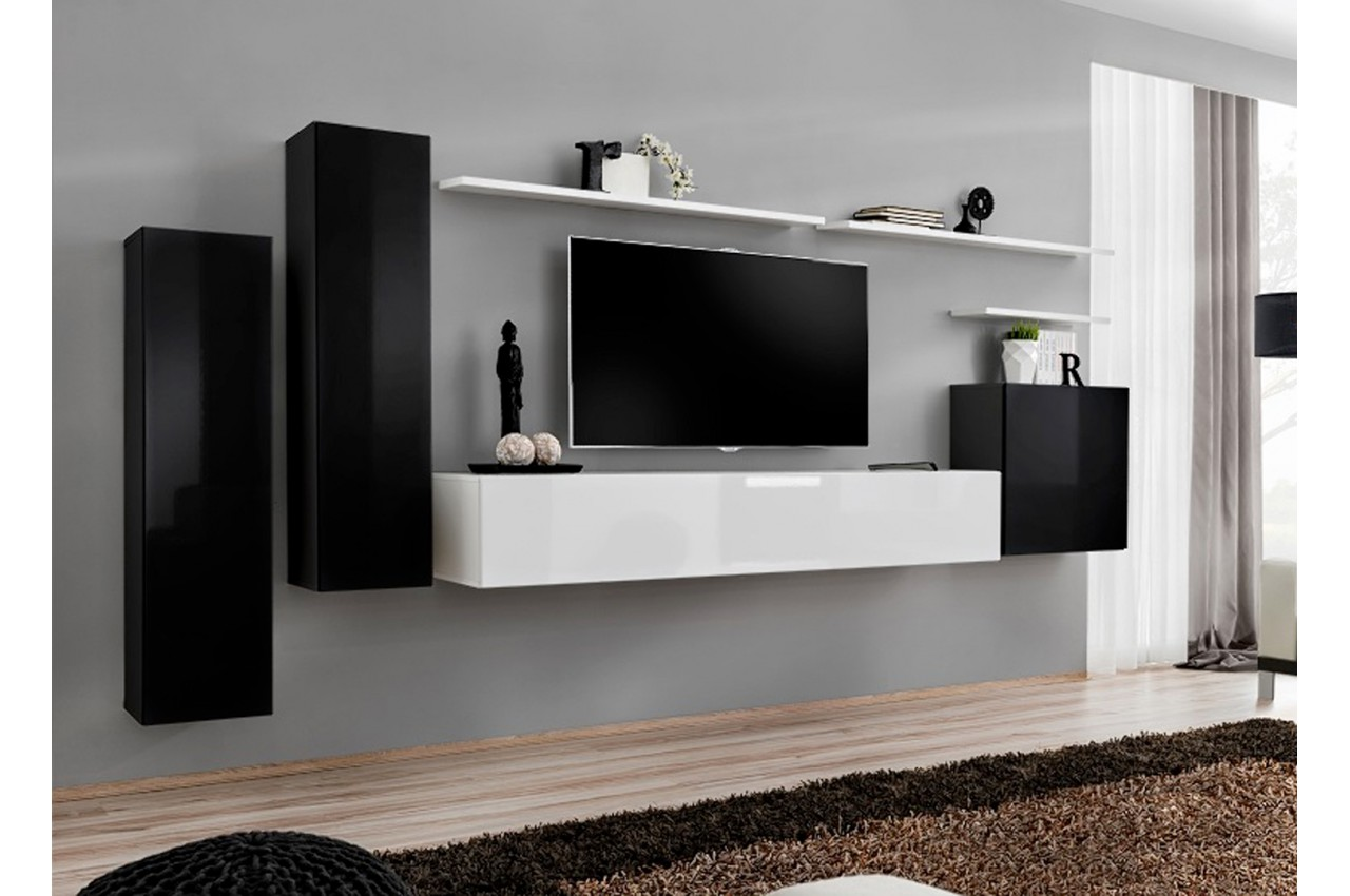 meuble tv mural design noir blanc laqu novomeuble. Black Bedroom Furniture Sets. Home Design Ideas