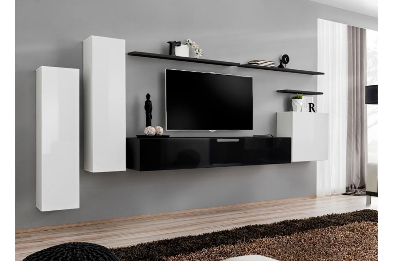 Meuble Tv Mural Design Noir Blanc Laqu Novomeuble # Meuble Tv Noir Et Blanc Design