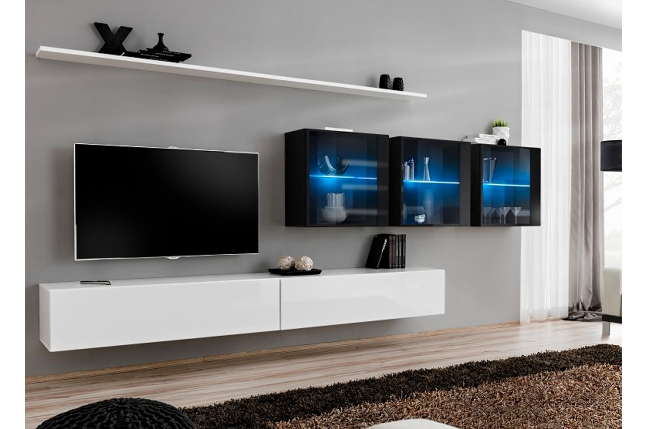 meuble mural tv design laqu pour salon. Black Bedroom Furniture Sets. Home Design Ideas