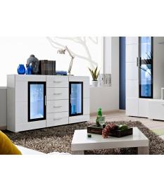 Buffet Vitré Blanc Laqué Design